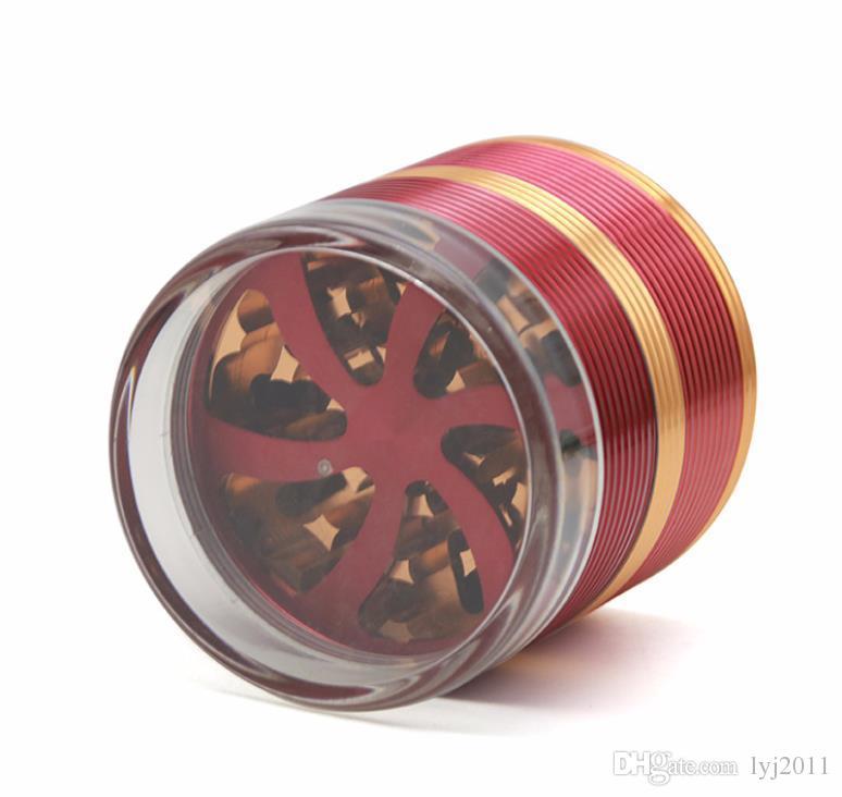 Cinq couches de couvercle en alliage d'aluminium transparent couvercle de broyeur de fumée diamètre 63MM pétale en forme de ventilateur coupe-cigarette