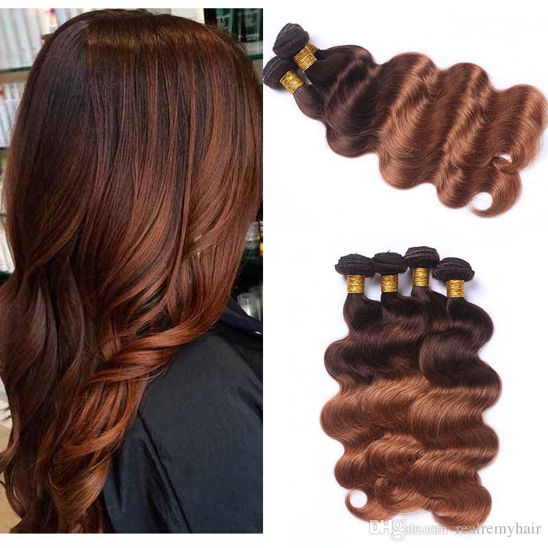 Peruvian 430 Brown Human Hair 3 Bundles Colored Two Tone Ombre