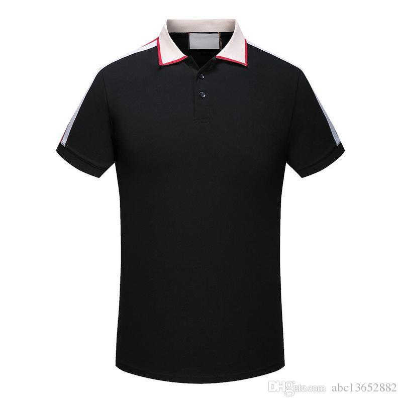Primavera de Luxo Itália Tee T-Shirt Designer Camisas Polo High Street Bordados Garter Cobras Pouco Abelha Impressão Roupas Mens Marca Pólo Camisa