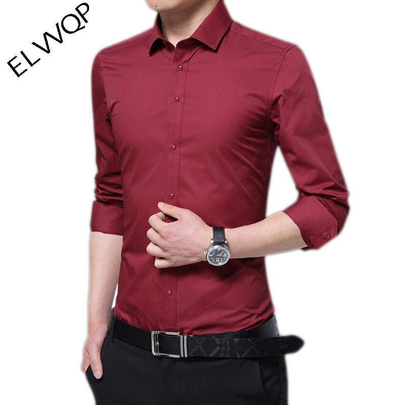 77f68f74fda 2019 2018 New Autumn Cotton Dress Shirts High Quality Mens Casual Shirt  Casual Men Plus Size 5XL Slim Solid Fit Social Shirts LF831 From Mujing
