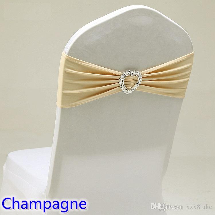 Champagne colour wedding chair sash with heart buckle lycra band spandex sash bow tie For Wedding Banquet Decoration for sale