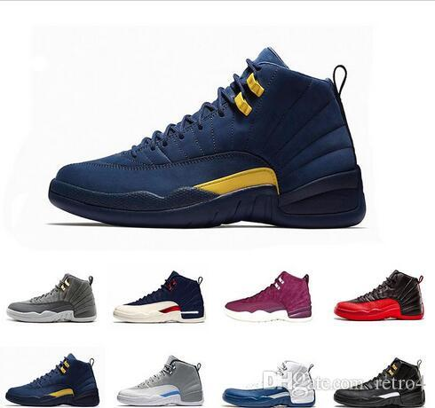 70a91d11bb2b New Michigan 12 12s Mens Basketball Shoes Black White Gym Red Taxi The  Master Playoffs Flu Game Gamma Blue Mens Sports Sneakers Shoes Carmelo  Anthony Shoes ...