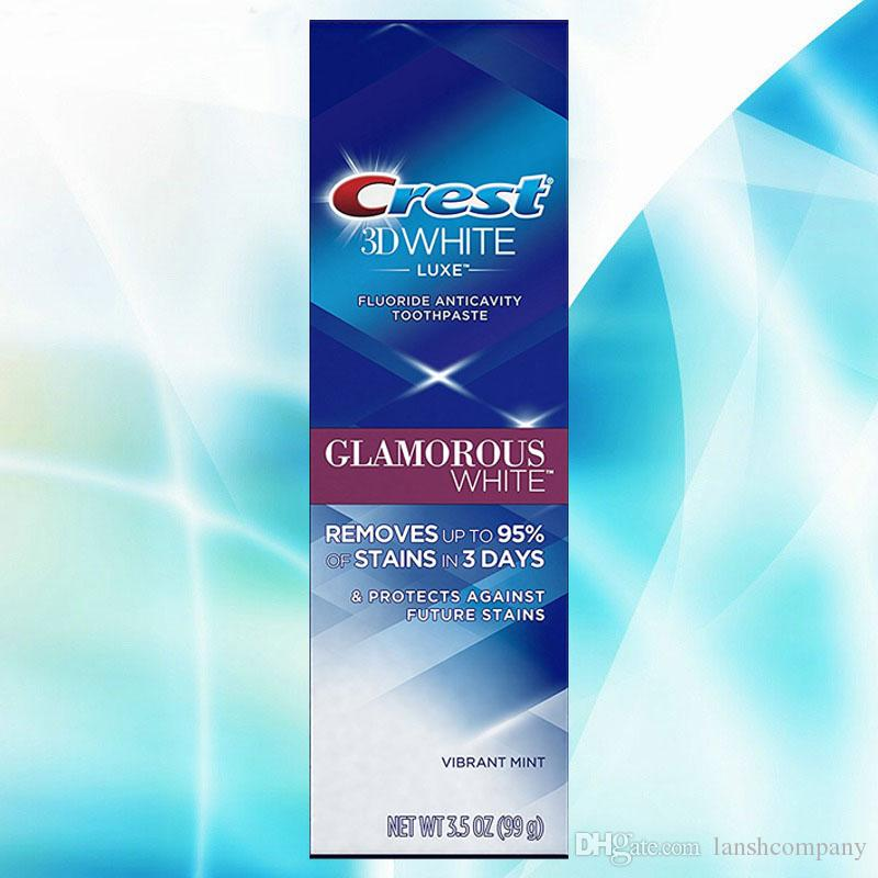Dentifrice vibrant à la menthe blanche éclatante de luxe 3D White Luxe avec 4 brosses à dents Pulsar de Luxe blanchissant