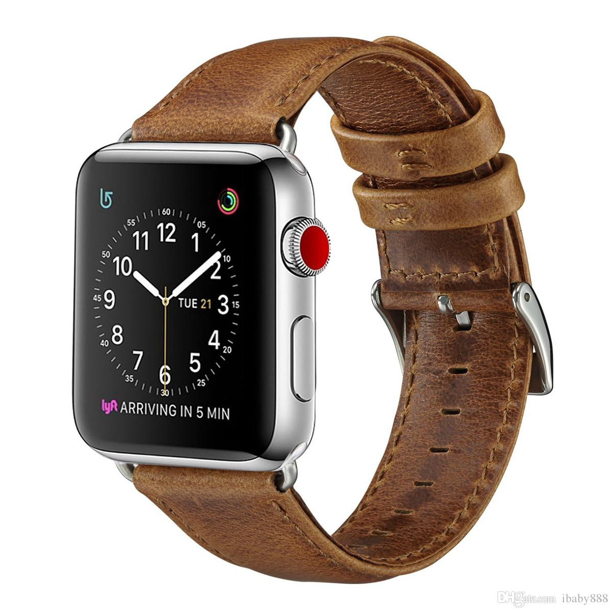 Luxury Business Casual Style Crazy Horse Pattern Genuine Leather Band Strap Belt Bracelet for 44mm 40mm 42mm 38mm Apple Watch 5 4 3 Goophone