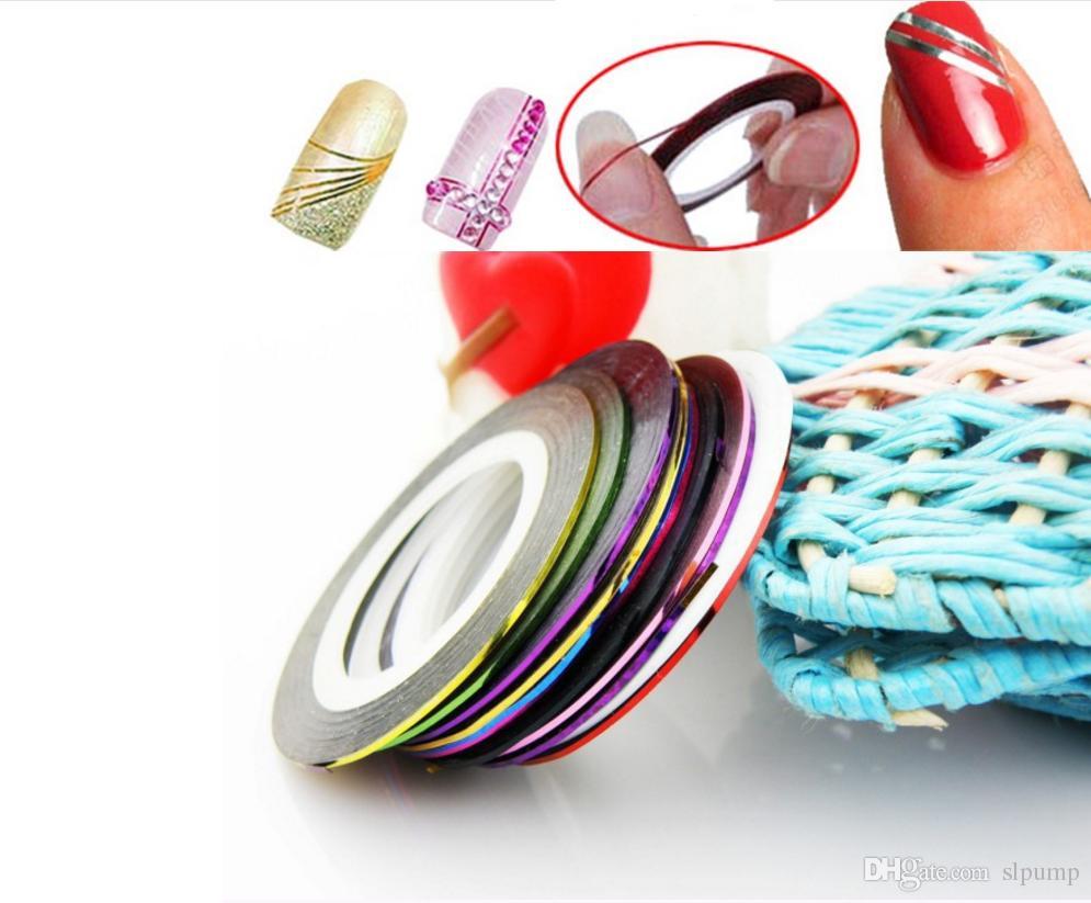 32 Rouleaux / Multi Mix Couleurs Rouleaux Rubans à Rayures Ligne Fils Métalliques Nail Art Modèles Décoration Wraps à Rayures Autocollant Highlight Manucure