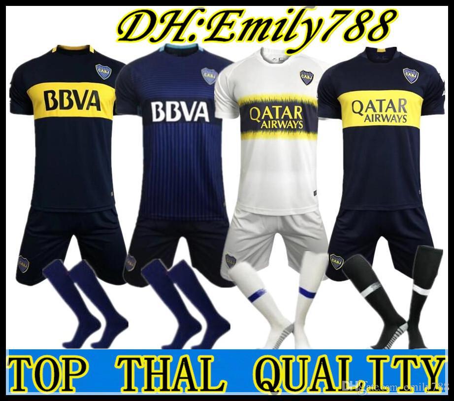 17 18 Boca Juniors Uniformes De Fútbol Para El Hogar Manga Corta Para  Hombres 18 19 Boca Juniors Pantalones Cortos De Fútbol + Calcetines Boc  Fútbol 3RD ... e253d1f9f0361
