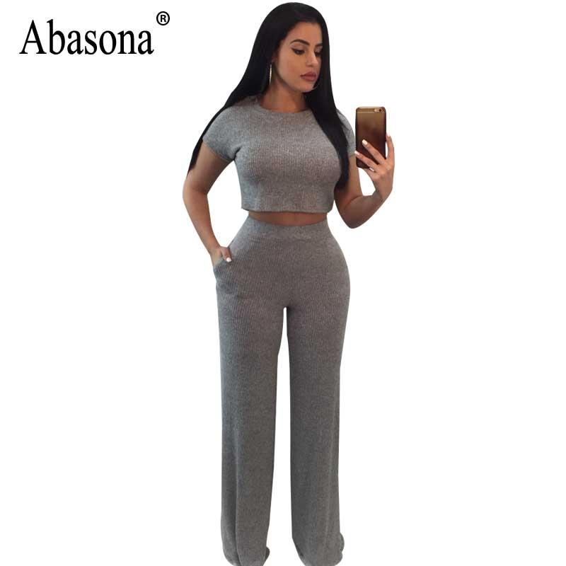 235e437f2d59 2019 Abasona Women Jumpsuits Summer Two Piece Outfits Casual Short Sleeve  Wide Leg Pants Female Rompers Jumpsuit Black Blue Gray From Cactuse