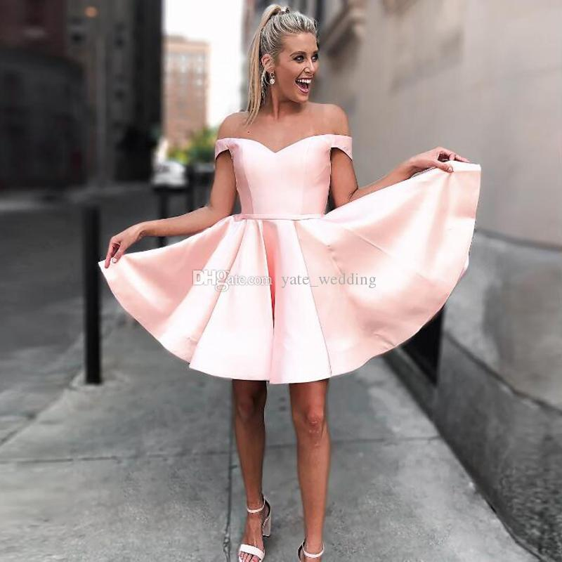 Cute Pink Short Homecoming Dresses Off The Shoulder Satin Ruffles Bandage  Party Dresses Dark Red Plus Size Short Prom Dresses Lace Up