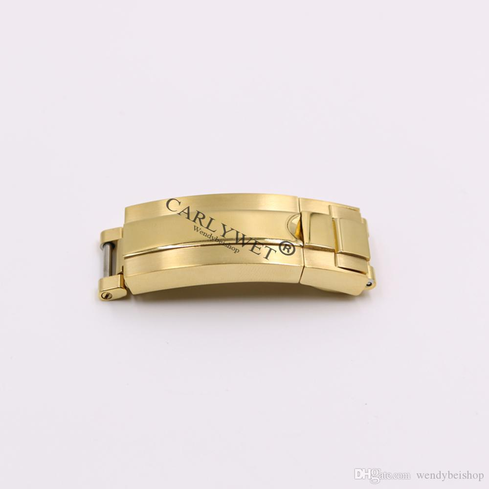 CARLYWET 9mm x 9mm Pinsel polnischen Edelstahl Uhrenarmband Schnalle Glide Lock Verschluss Stahl für Armband Gummi Lederband Gürtel