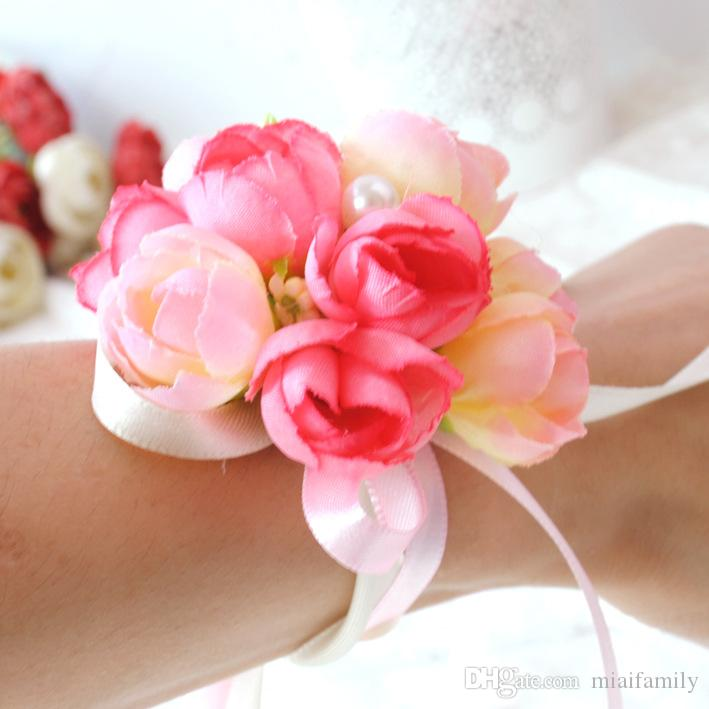 Colors Rose Wrist Corsage Bridesmaid Sisters hand flowers Artificial Bride Flowers For Wedding Party Decoration Bridal Prom