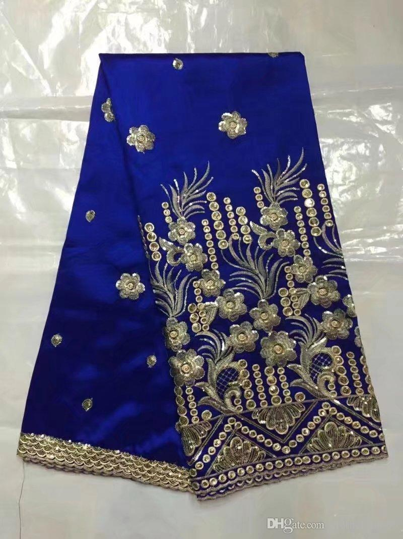 2017 Hot Royal Blue African George Lace Fabric With Sequins For Indian Silk Women Wedding Dress George With Blouse Lace Material b8-12-1