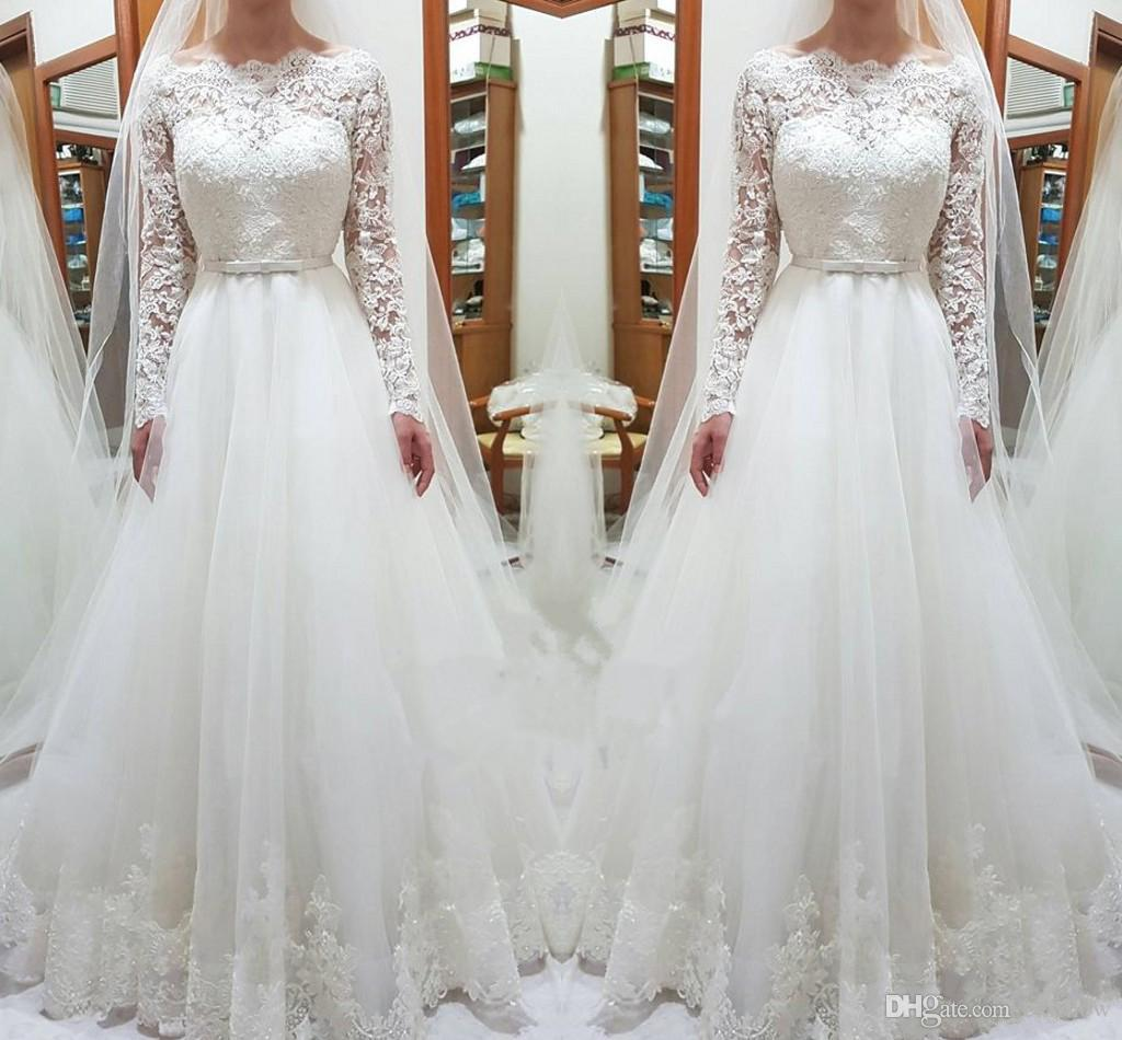 359a8b950814 Discount 2019 New Cheap Scoop Neck A Line Lace Wedding Dresses Long Sleeve  Plus Size Sweep Train Bohemian Beach Country Bridal Gowns Custom Made Aline  Dress ...