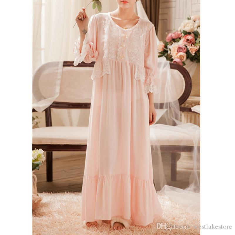2019 Victorian Sleep Lounge Vintage Nightgown Autumn Women Sleepwear Lace  Ruffle Night Wear Home Dress Pink Cotton Lounge Wear From Westlakestore e45ebf780