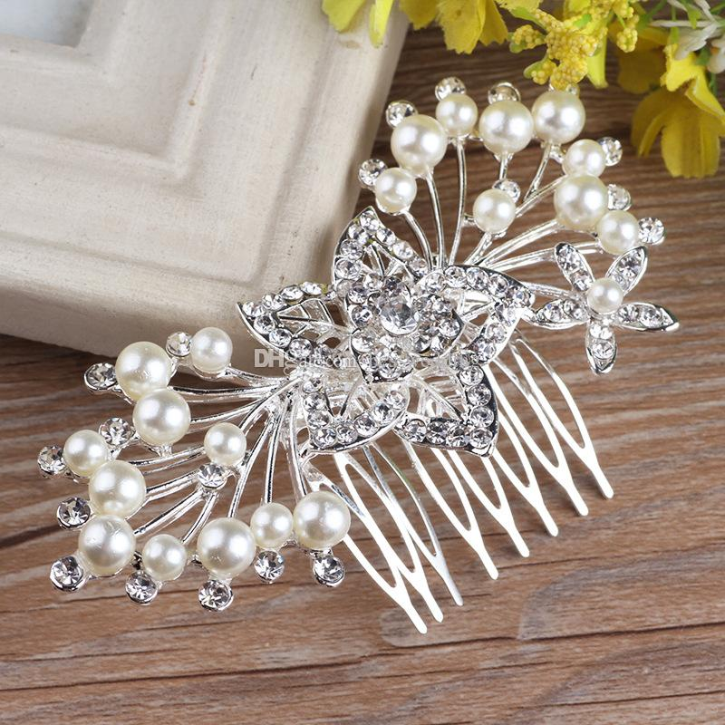 2018 New Arrival High Quality Floral Pearl Crystal Comb Crown Tiara Bridal Headpiece Wedding Hair Accessories Ready to Ship