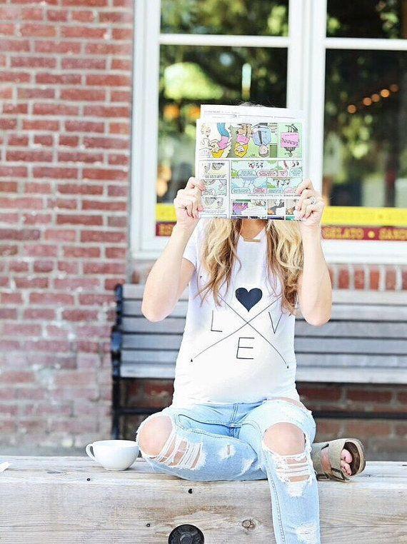 Mutterschaft T-Shirt Weiß Tees Schwangere Frauen Kleidung Letters LOVE Arrow Einfache All-Matched 2018 Sommer