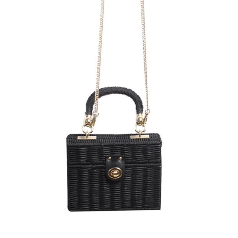 748de2e1fe Fashion Women Straw Crossbody Bag Summer Handmade Beach Chain Messenger Shoulder  Bag Case Box Wicker Woven Rattan Travel Designer Handbags Crossbody Bags ...