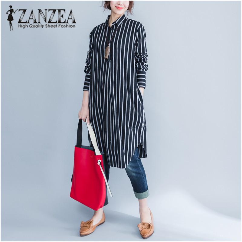 370907b6d28 2019 Top Blusas ZANZEA Fashion Women Lapel Neck Stripe Linen Cotton Long  Blouse Autumn Loose Casual OL Shirt Vestido Plus Size 2018 D18103104 From  Tai01