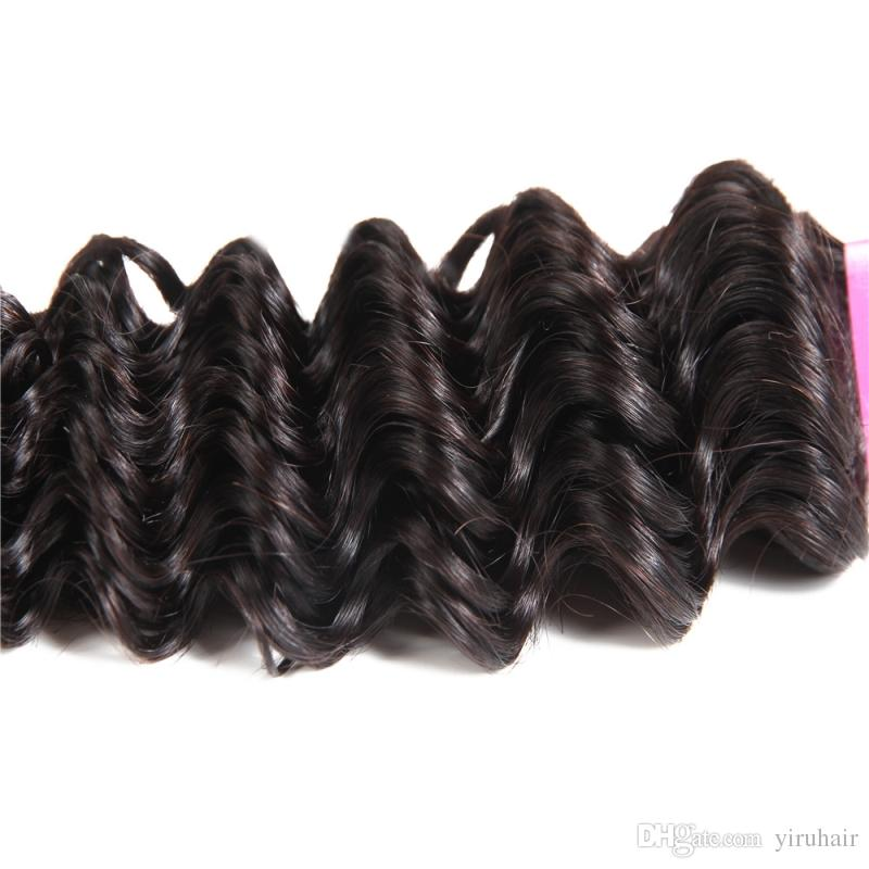 Brazilian Virgin Human Hair Deep Wave Curly 360 Lace Frontal With Bundles 8-28 inch Natural Color Hair Extensions