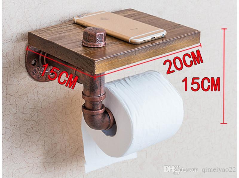 Vintage Wood Paper Holders Bathroom Shelves Industrial Retro Iron Toilet Paper Holder Bathroom Hotel Roll Tissue Hanging Rack Wooden Shelf