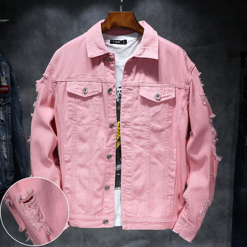 95c96916887b YuWaiJiaRen Denim Jacket Men Ripped Holes Mens Pink Jean Jackets New 2018  Garment Washed Mens Denim Coat Parka Jackets Biker Jackets From Salom