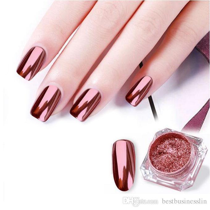 New Nail Glitter Rose Gold Mirror Chrome Powder Dust Shiny Magic