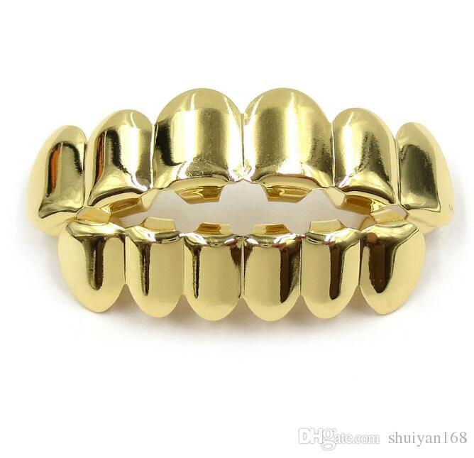 الهيب هوب الأنياب الشخصية أسنان الذهب والفضة وردة نوع ذهب الأسنان GRILLZ الذهب الأسنان الكاذبة مجموعات مصاص الدماء الشوايات وبالنسبة للنساء الرجال الشوايات الأسنان مجوهرات