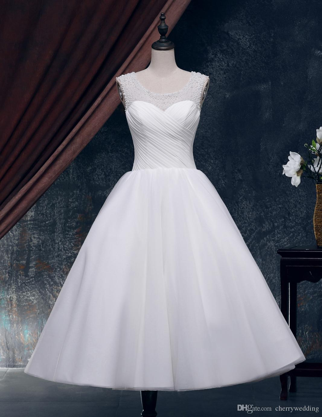 Discount Tea Length Ball Gown Wedding Dresses Vintage Wedding Dress ...