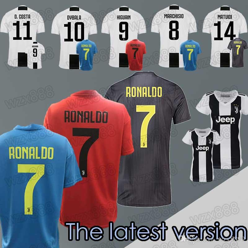 info for 8ef14 3aa55 2018 2019 NEW Juventus soccer Jersey 7 RONALDO 11 D.COSDR 10 DYBALR 9  HIGUAIN Soccer jersey Men Women Kid Can be customized