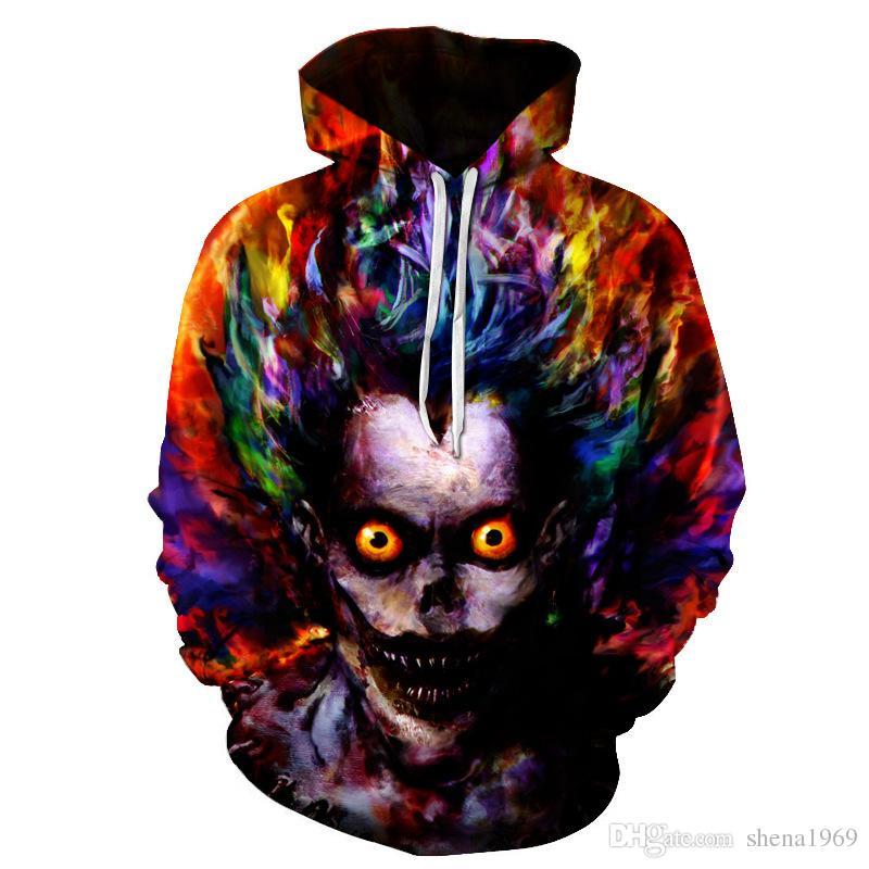 The new European geometric digital print hooded pocket hoodies sweater hooded male male tide