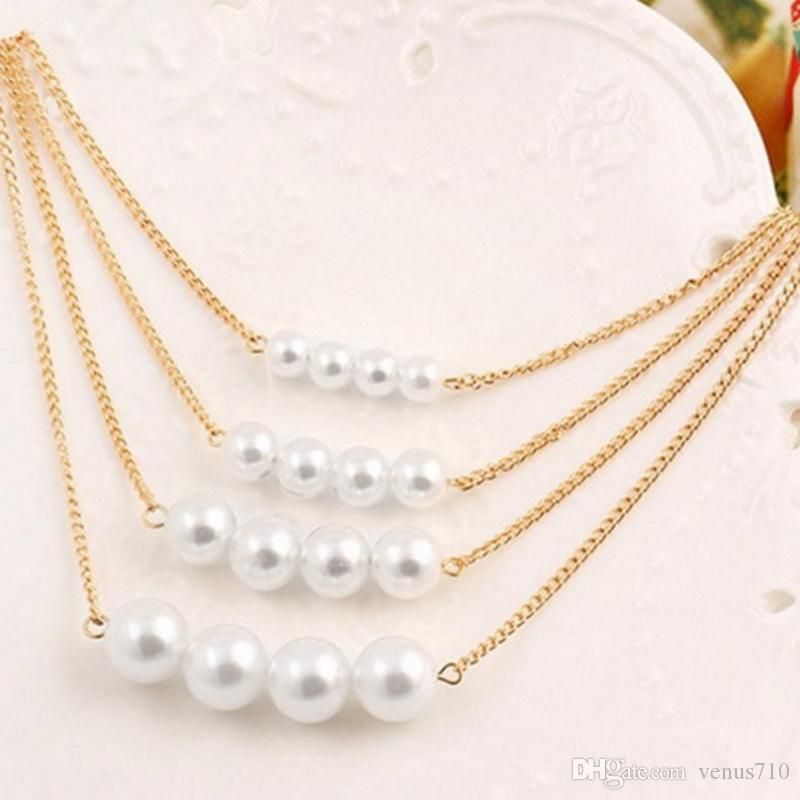 f9aed86d2dbf8f 2019 Women Simulated Multilayer Pearl Necklace With Gold Chain Big Beaded  Pendants Statement Charm Jewelry Choker From Venus710, $24.0 | DHgate.Com