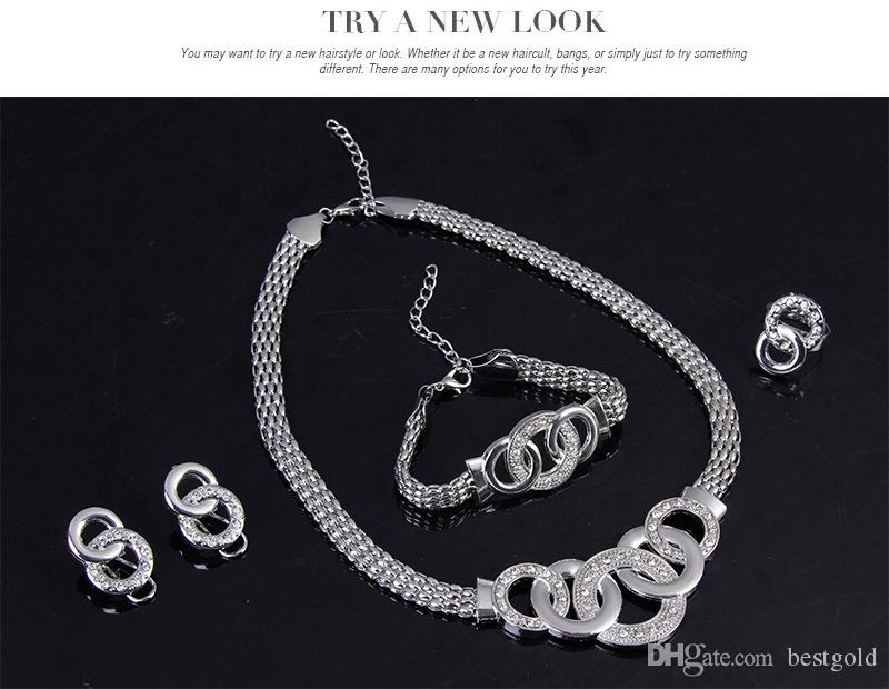 Dubai Rhodium Plated Five Loops Necklace Set Conjuntos de joyería de fantasía nupcial de diamantes de moda africana collar + pulsera + pendientes