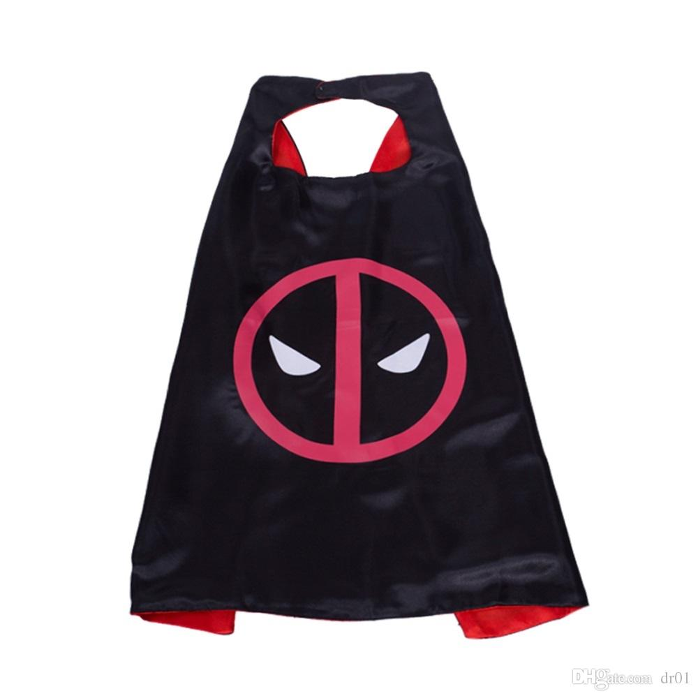 Superhero Capes with mask REVERSIBLE Two Colored child cape birthday party favor satin solid capes boys girls satin capes