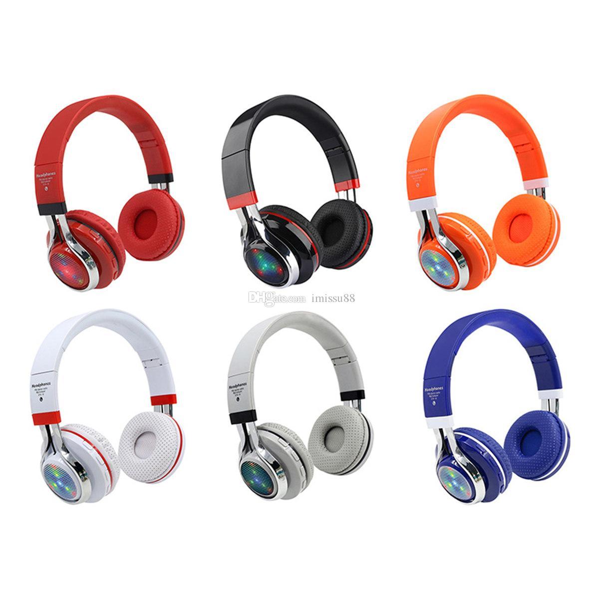 38e919d374d Compre Luz LED STN 18 Auriculares Bluetooth Auriculares Plegables Estéreo  Inalámbricos Que Brillan Intensamente Auriculares Inalámbricos De Música Con  ...