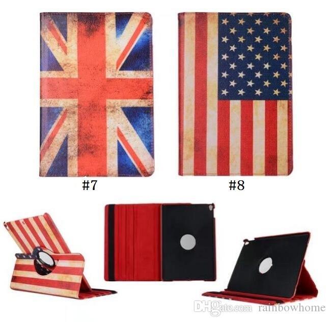 360 degree Rotary Rotating Stand USA UK National Flag Diamond Flower Flip PU Leather Case for ipad 234 5 6 Mini 123 4 New 9.7 2017