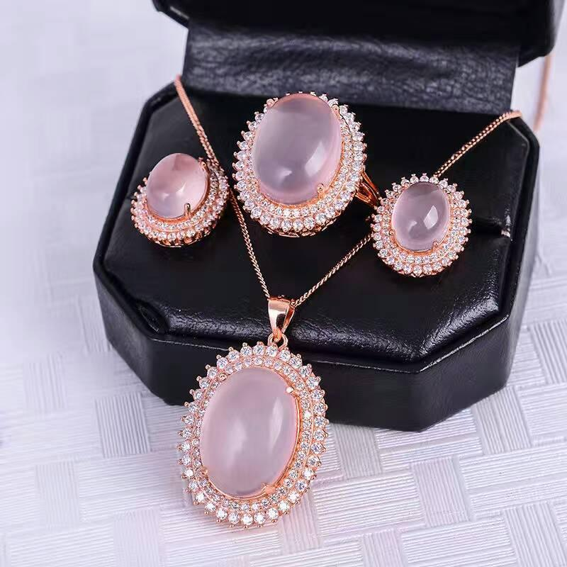 Luxurious rose quartz silver jewelry set natural big size rose quartz gemstone jewelry solid 925 silver romantic gift