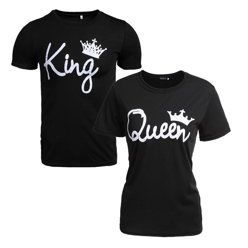 23cce0b6a21 King And Queen Couple Short Sleeve Cotton Shirts Letter Printing Couple Tops  Hip Hop Valentine Day T Shirt As T Shirt Online T Shirts Buy From Augusss