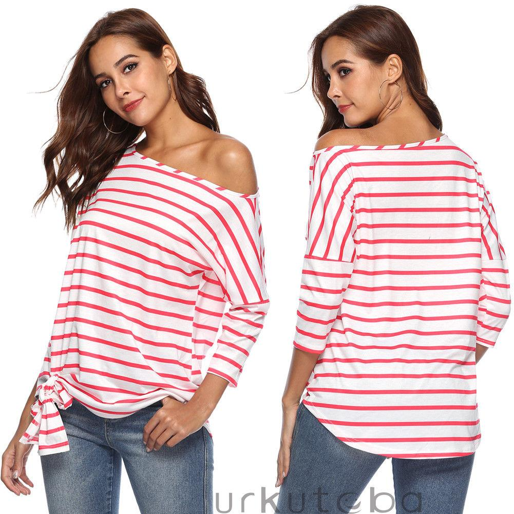 78443b304e6b6 Women S Casual Loose Long Sleeve Tops One Shoulder Off Lace Up Striped T Shirt  Loose All Match T Shirt For Girls One T Shirt A Day One Day T Shirt From ...