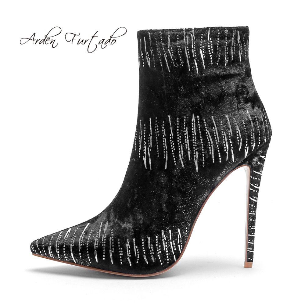d94b5ee55cb Arden Furtado 2018 autumn zipper genuine leather high heels 12cm stilettos  pointed toe sexy ankle boots zipper fashion boots new