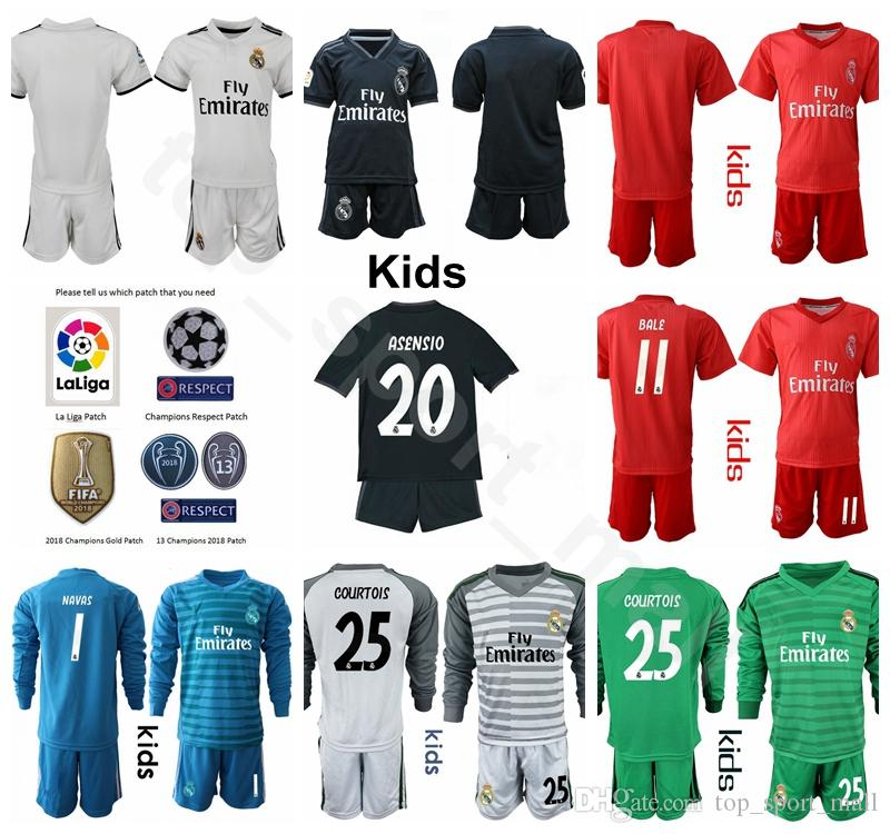cheaper 9b0bf 07088 Youth Real Madrid Jersey Kids Set Soccer 2018 2019 La Liga MODRIC SERGIO  RAMOS BALE ASENSIO ISCO NAVAS Football Shirt Kit Uniform Children