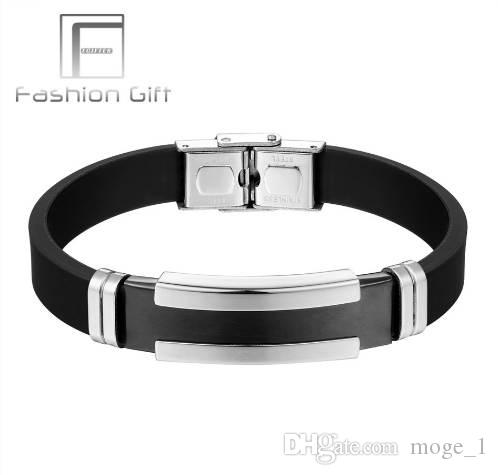 Fgifter Men S Silver Black Stainless Steel Silicone Rubber Bracelets
