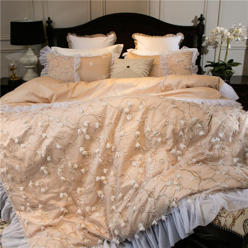 Luxury Embroidery Bed Linen Pink Gold Egyptian Cotton Bedding Set