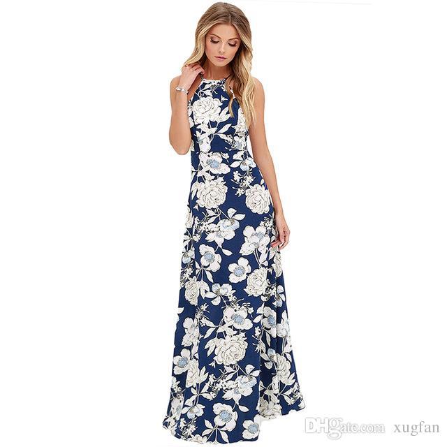c1fbd8fabe5 Anself Sexy Women Maxi Boho Dress Halter Neck Floral Print Sleeveless  Summer Dress 2018 Holiday Long Slip Beach Dress Vestidos Beach Boho Elegant  Printed ...