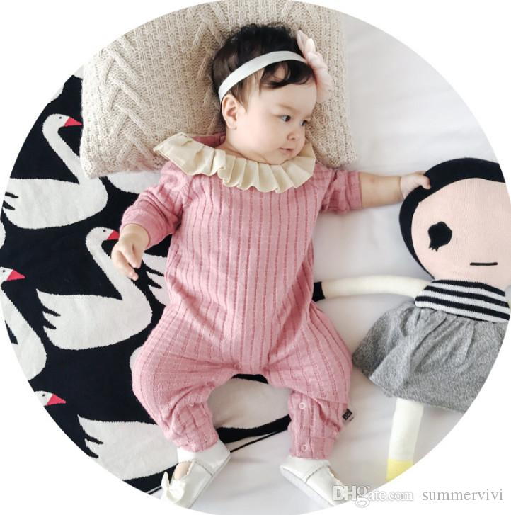 1316e3b579c43 Autumn Infant Kids Rompers Baby Girls Falbala Lapel Long Sleeve Jumpsuits  Fashion New Toddler Kids Vertical Stripe Cilmb Clothing F1277 Baby Girls  Romper ...