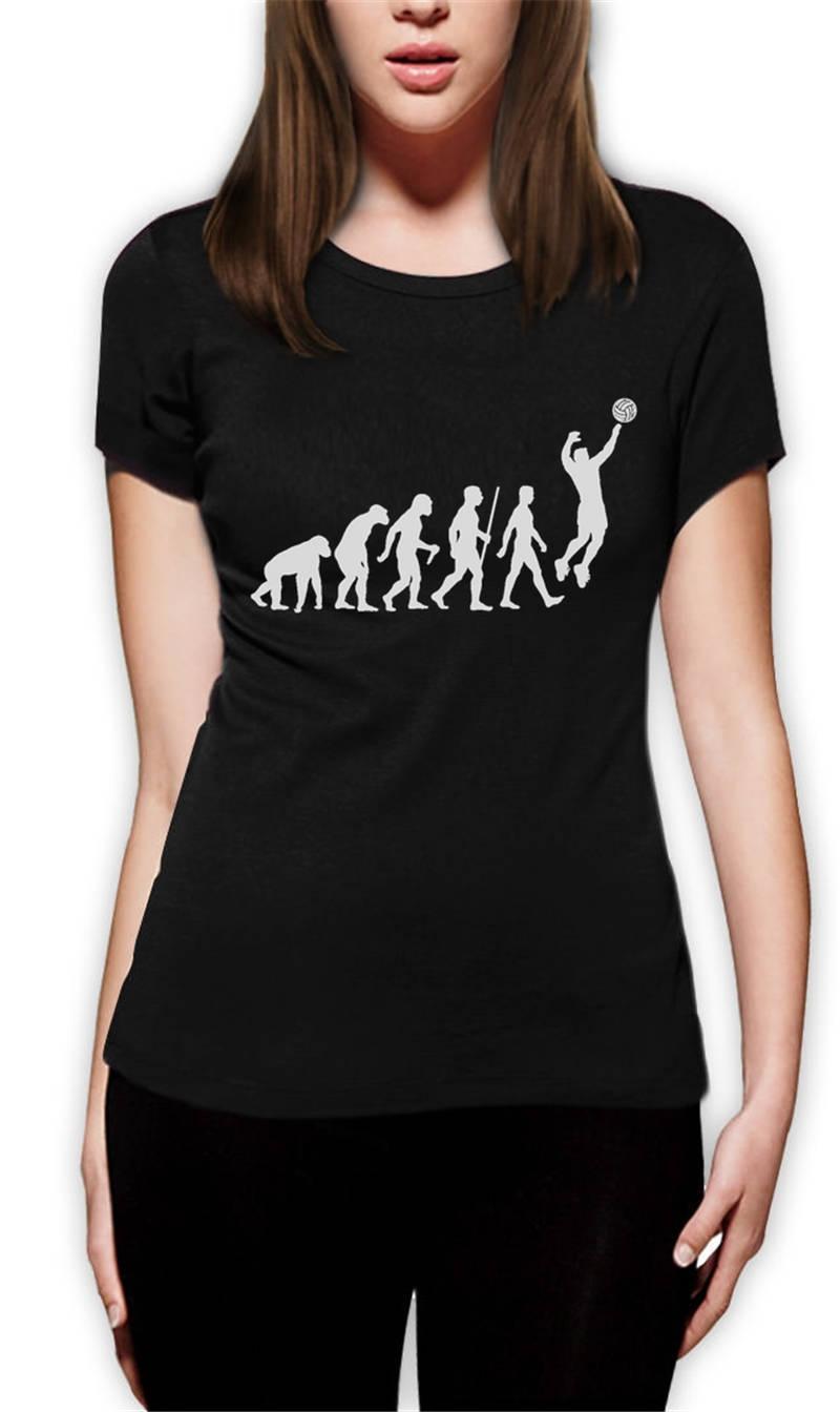 Funny T Shirt Ideas Women S O-Neck Design Short Sleeve Volleyballer  Evolution T Shirts