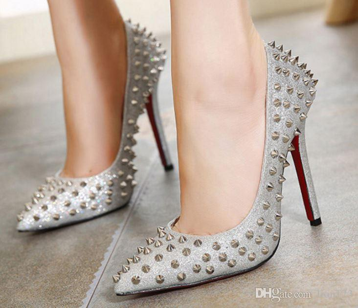 ae078b281026e Hot Sale Patchwork Red Bottom High Heels Rivets Studded Shoes Sexy ...