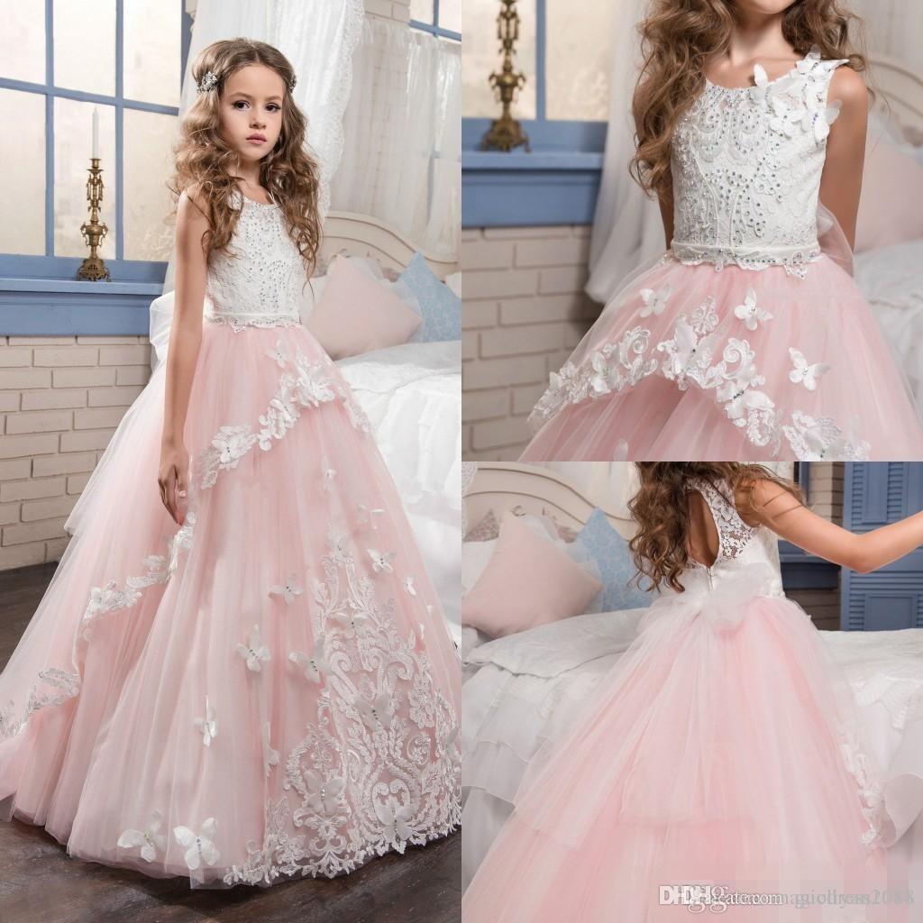 Baby Pink 2019 Vestidos para niñas de flores Cuello redondo sin mangas Una línea Apliques de encaje Vestido de desfile de chicas para la boda Fiesta de cumpleaños