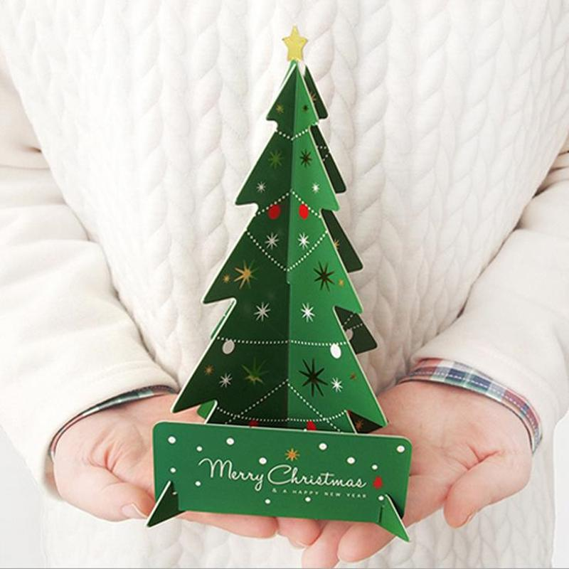 3d Christmas Tree.18 5x13 8cm Creative 3d Christmas Tree Cards Gifts Merry Christmas Xmas Blessing Card For New Year Gift Green Red