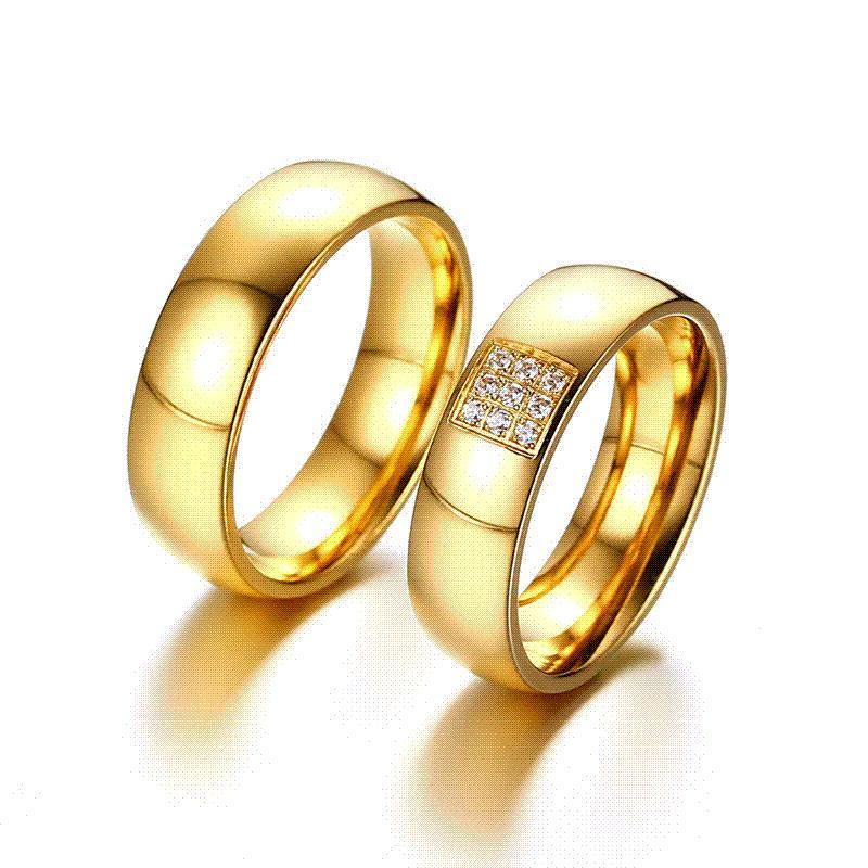 Modyle 2017 Простые обручальные кольца для женщин Мужчины Элегантные кольца  AAA CZ Золотые кольца Кольцо Альянс Promise Engagement Band Gift 24853a38d9f