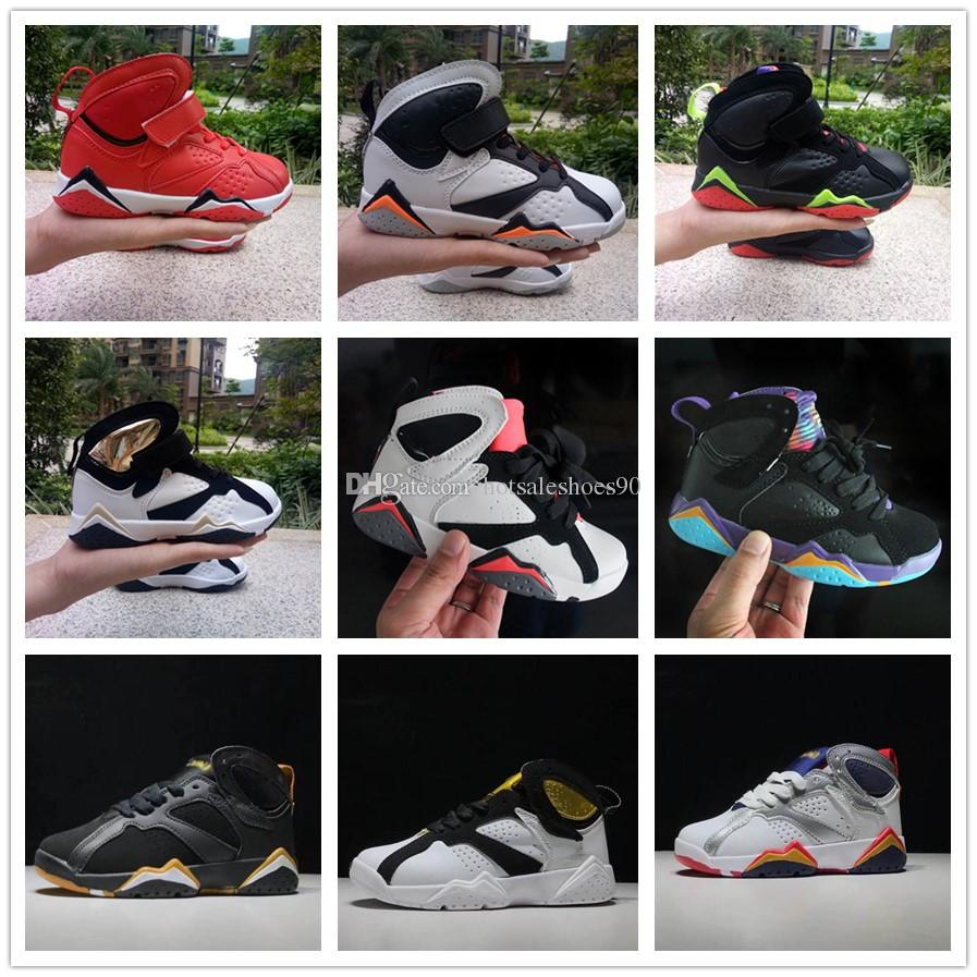 the latest 8ae54 c2458 Acheter Nike Air Jordan Aj7 2018 Enfants Basket Ball Chaussures 7 S  Blackout Win Comme Noir Stingray Bébé Enfants 7 Sneaker Chaussures Jeunes  Garçons Filles ...