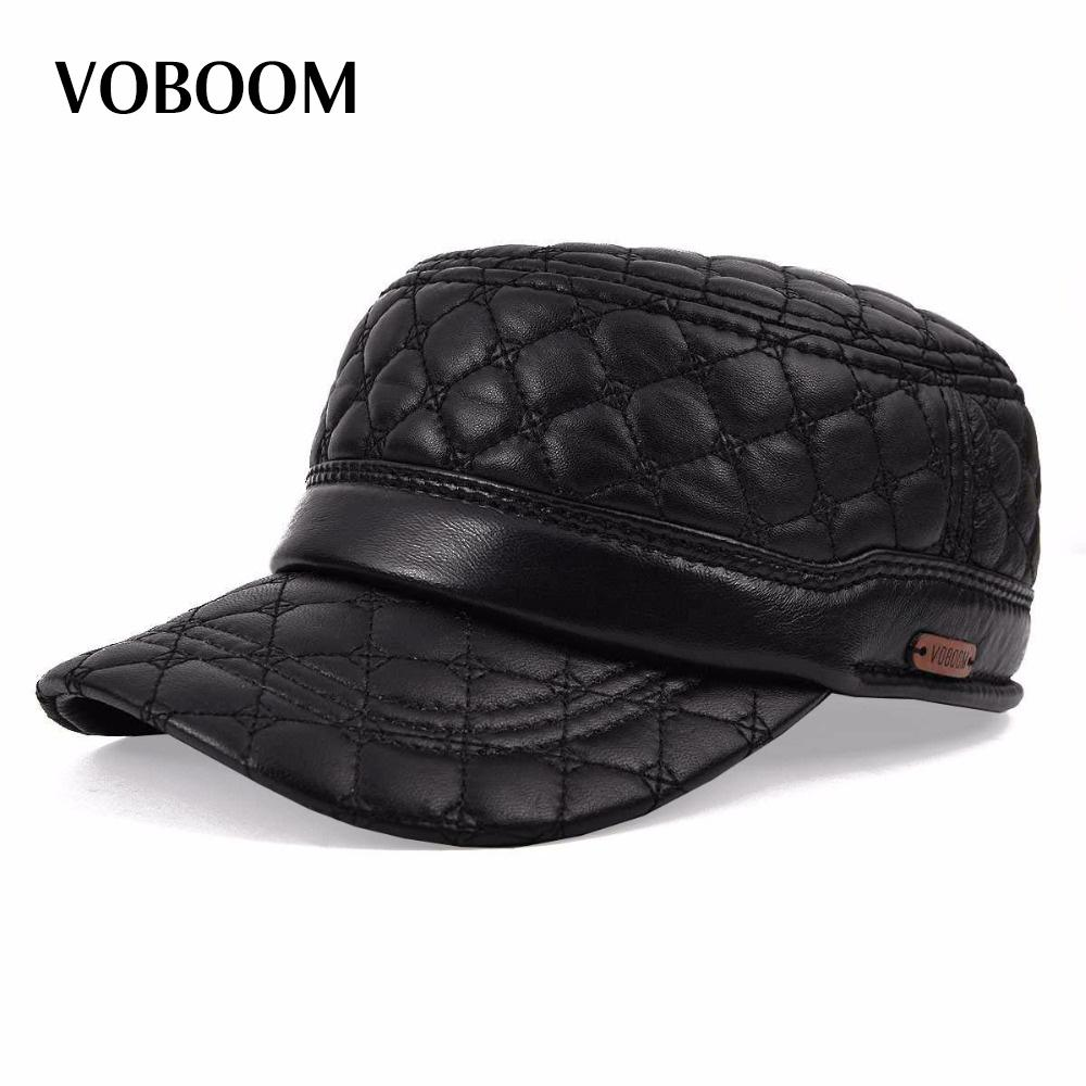 93d49926ec043 VOBOOM Diamond Embroidery Sheepskin Hat Cadet Cap Hat For Man Genuine  Leather Quinquagenarian Thermal Ear Hats MY0011